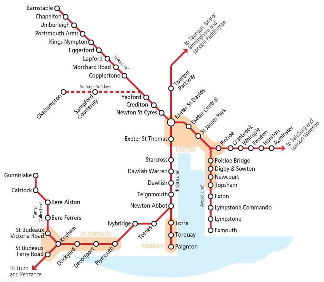Map Of Train Lines Devon rail network map | Travel Devon