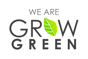 We are Grow Green words, the letter o has a green leaf in its place