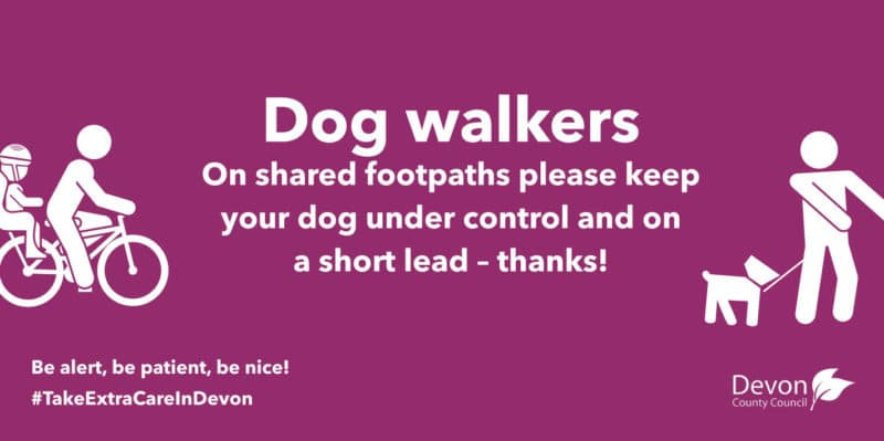 Dog Walkers. On shared footpaths please keep your dog under control and on a short lead-thanks!
