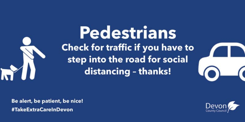 Pedestrians. Check for traffic if you have to step into the road for social distancing. Thanks